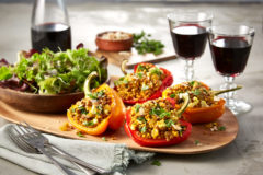 Golden Couscous Stuffed Peppers paired with California Black Cabernet