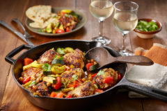 Mango Curry Chicken Thighs paired with California Symphony Gewürztraminer